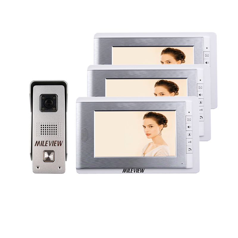 Hot&New Home Wired 7 inch Video Door Phone Intercom Entry System 3 Monitors + 1 Waterproof Outdoor Camera IN Stock FREE SHIPPING jeruan home 7 video door phone intercom system kit rfid waterproof touch key password keypad camera remote control in stock
