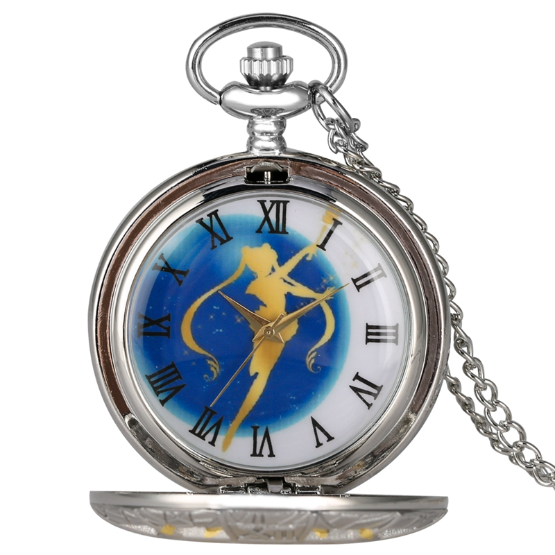 Luxury Gold Sailor Moon Theme Quartz Pocket Watch Roman Numerals Display Dial Silver Necklace Pendant Chain Top Gifts For Girls