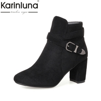 KAIRNLUNA Top Quality Large Size 31 43 Buckle Ankle Boots Women Shoe Woman Square High Heels