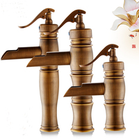 3 Types Copper Bamboo Style Basin Faucet Antique Brass Kitchen Basin Faucet Hot And Cold Retro