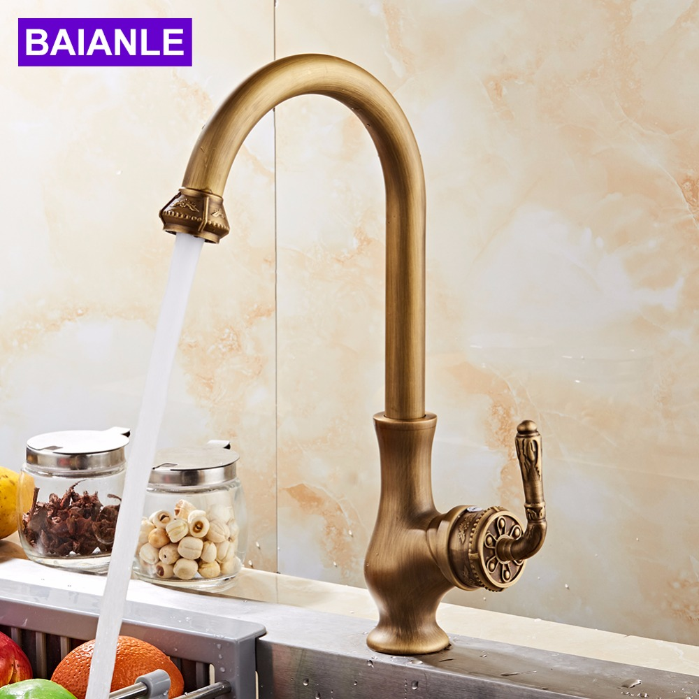 Kitchen Faucet Free Shipping Antique Bronze Finish Kitchen Bathroom Sink Tap Mixer Single Hand Hot And Cold Wash Basin Tap new arrival tall bathroom sink faucet mixer cold and hot kitchen tap single hole water tap kitchen faucet torneira cozinha