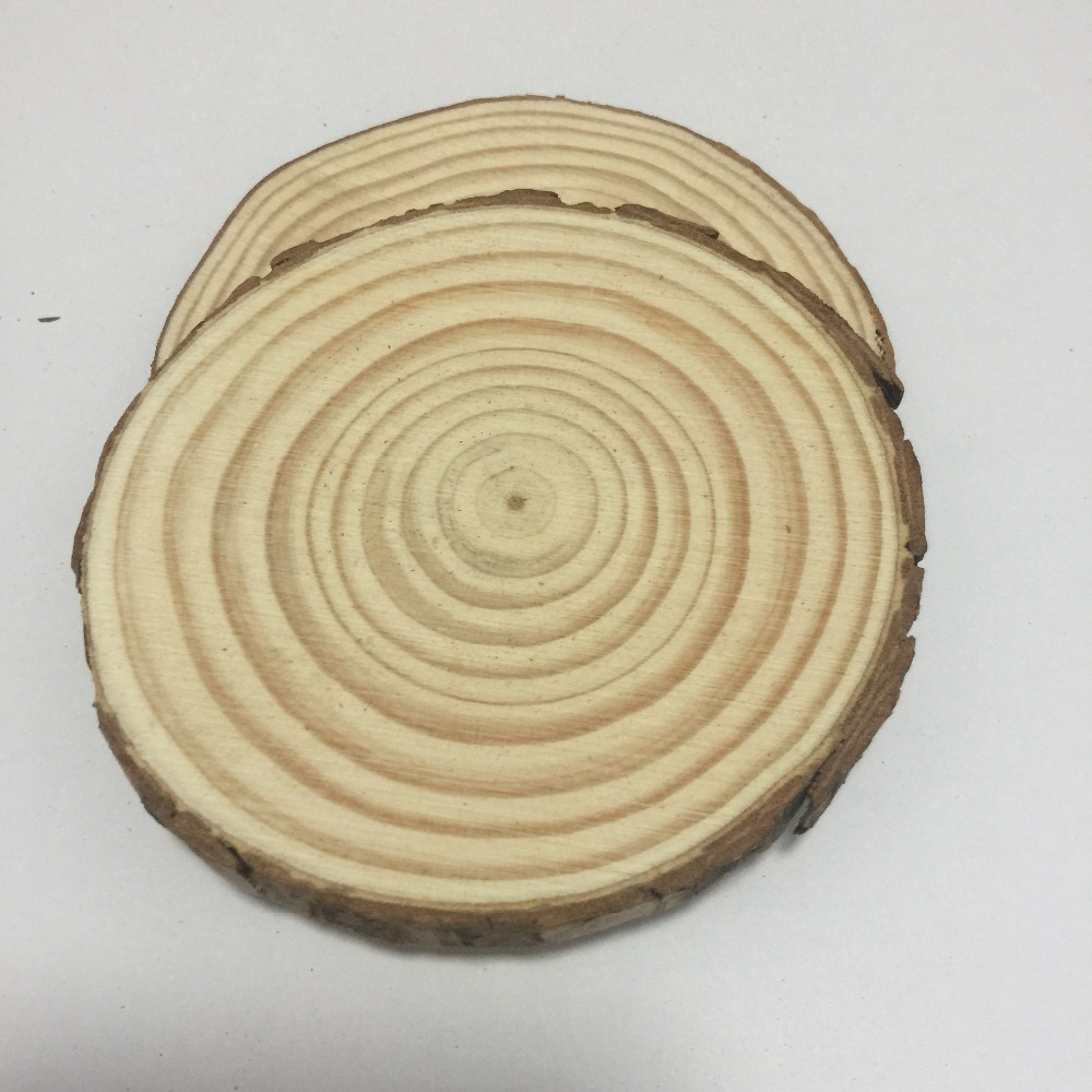 5 Pcs 25-30cm Big Unfinished Round Circle Nature Wood Slices Wood Discs With Tree Bark Diy Rustric Wedding Decoration
