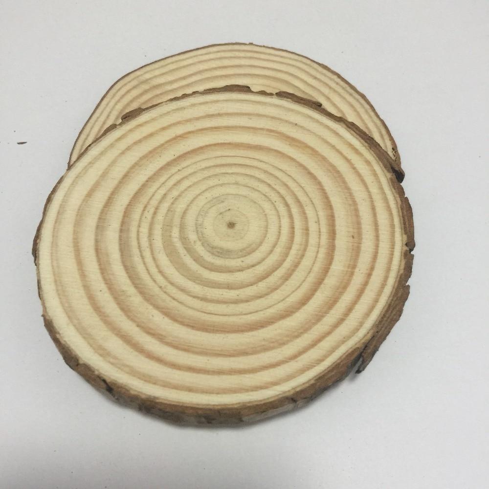 5 Pcs 25-30cm Big Unfinished Round Circle Nature Wood Slices Wood Discs With Tree Bark Diy Rustric Wedding Decoration
