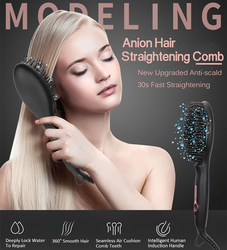Ions négatifs Anions Cheveux brosse à lisser fer à lisser peigne électrique led Numérique Chauffage Cheveux pinceau plat Creative Cadeau