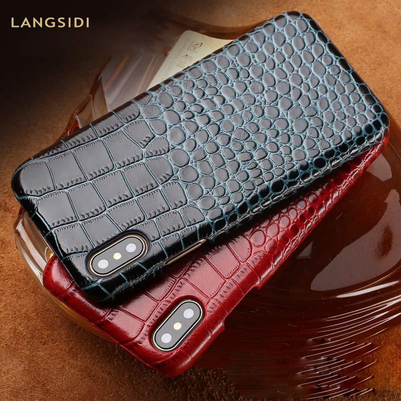Genuine Leather phone Case For iPhone 11 11 Pro 11 Pro Max X 6 6S 6 7 8 Plus XS XS Max XR 5 5s se Luxury Crocodile Grain Cover