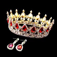 1 zestaw w stylu Vintage czerwony kryształ król królowa balu dla nowożeńców tiara okrągły Rhinestone korony ślubne Diadem Pageant ślubne włosy ślubne akcesoria tanie tanio Hello Beauty Ze stopu cynku Archiwalne Hairwear Moda Kobiety HQ-NEW031 ruby tiara 160x50mm around Tiaras Luxury Hair Jewelry