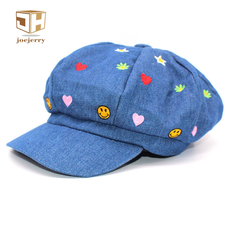 joejerry Cute Embroidery Women Berets Denim Bone Female Beret Newsboy Cap Girls Sun Visor Hat Size Adjust