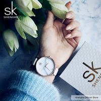 Shengke Top Brand Watches Women Luxury Leather Watch Casual Pink Leather Dress Wrist Watch Relogio Feminino
