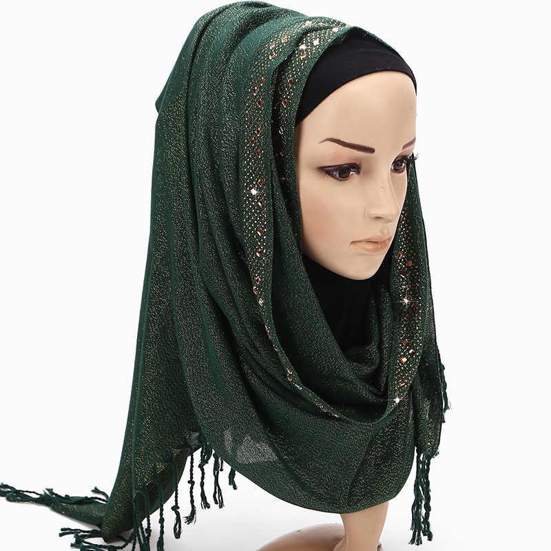 ffa8edee8a11b ... 2019 New Solid Color Black White Green Plain Head Hijab Scarf Bandana  Women Diamond Glitter Long ...