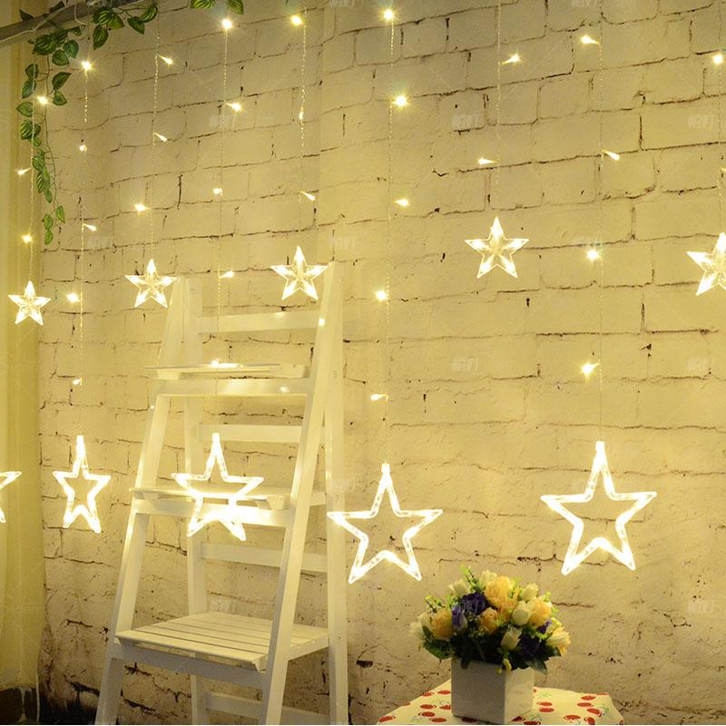 Plug in Star LED Night String Lights Home Holiday Christmas Wedding Decorative Curtain String Fairy Garland Luces Decorativas 1 5x1 5 rgb led string christmas fairy lights luces decorativas led para fiestas curtain valance home wedding decoration garland
