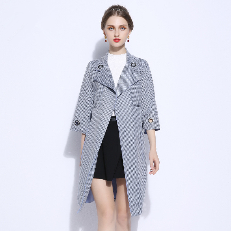 England Style Women Plus Size   Trench   Coat 2019 Spring New Belt Bow Plaid Long Windbreaker XL-5XL High Quality