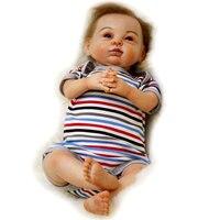 Kawaii силикона Reborn Baby Doll голубые глаза новорожденных сопровождать Спящая младенцев куклы детские игрушки для девочек Рождество подарок на де