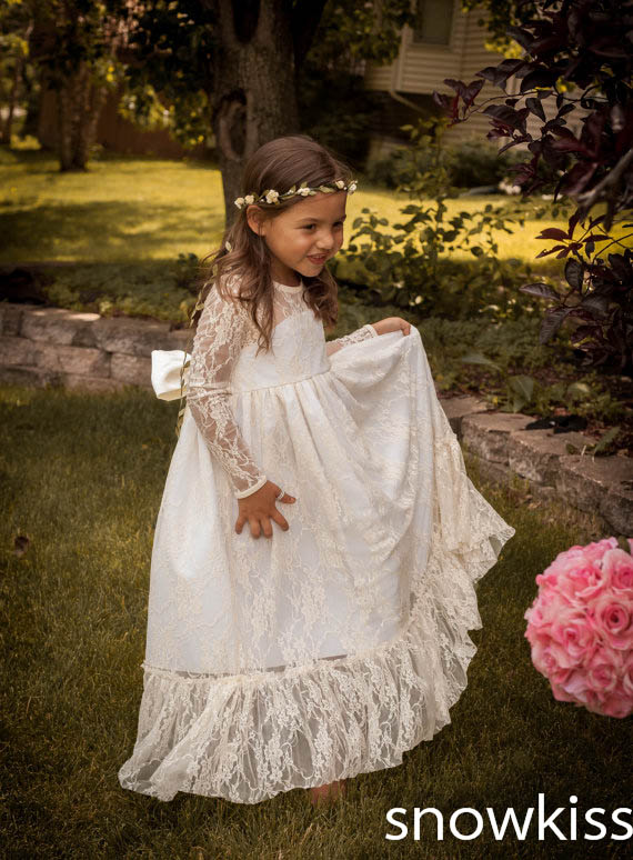 Haute Couture sheer Jewel neckline Long Sleeves White&Ivory Lace Tulle A-line Tutu Flower Girl Dress Party Birthday Pageant