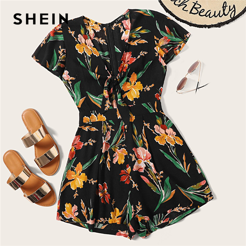 SHEIN Boho Multicolor Zip Back Knot Front Floral Print Rompers Womens   Jumpsuit   Summer Deep V Neck Cap Sleeve Sexy Playsuit