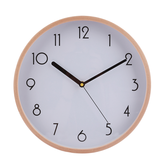 Homingdeco 12 Inches Large Simple Wall Clock Wood Brief Wooden Bedroom Livingroom Wall Clocks Home Decor - White