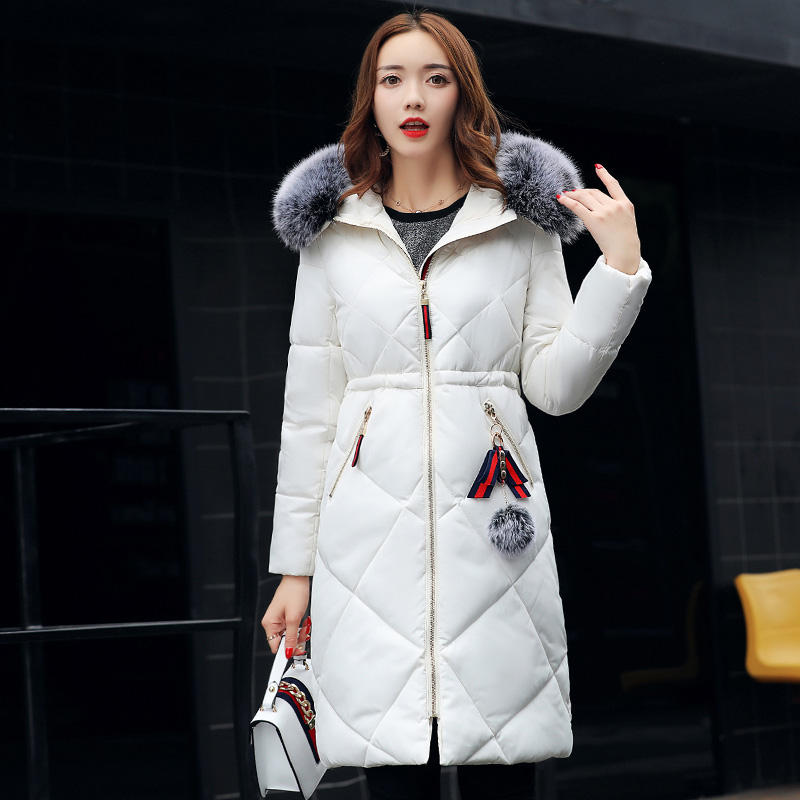 2017 New Long Parkas Women Winter Coat Cotton Fur Collar Pockets With Pompom Casual Style Jacket Outwear Female Hooded Coat factory outlets 2014 new winter in europe and america women british style stitching cotton quilted jacket short parkas coat