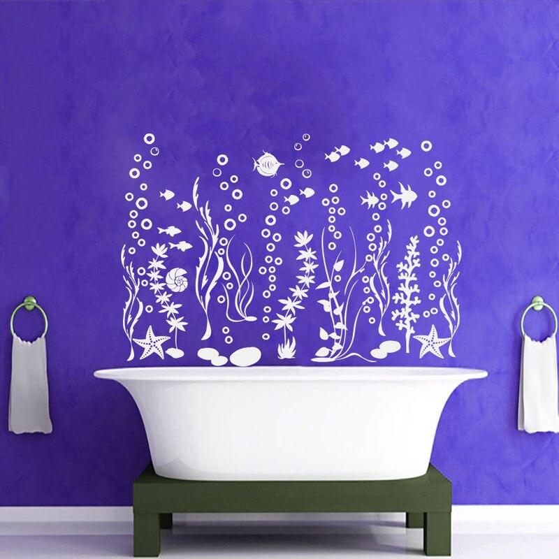 Große Größe Der Unterwasserwelt Fisch Algen Starfish Blasen Ozean Wandtattoos Vinyl Home Decor Badezimmer Waschraum Wandmalereien B-12