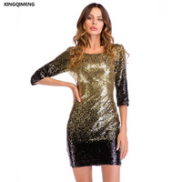 In Stock Gold and Black Sequined Cocktail Dresses with Half Sleeve Elegant Short Sheath Formal Party Dress Chic Mini Prom Gown
