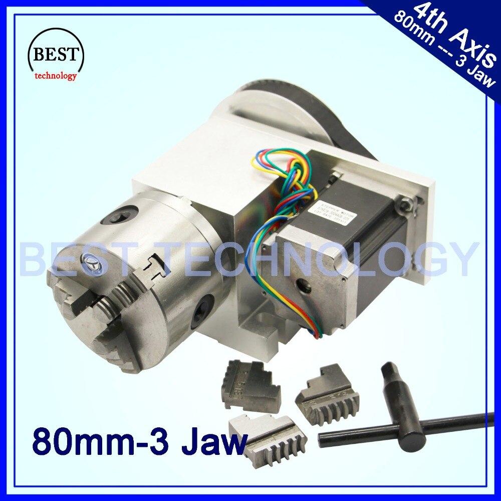 80mm CNC 4th axe CNC tête de division/axe de Rotation/un kit d'axe Nema23 pour Mini routeur de CNC/graveur machine de gravure sur bois