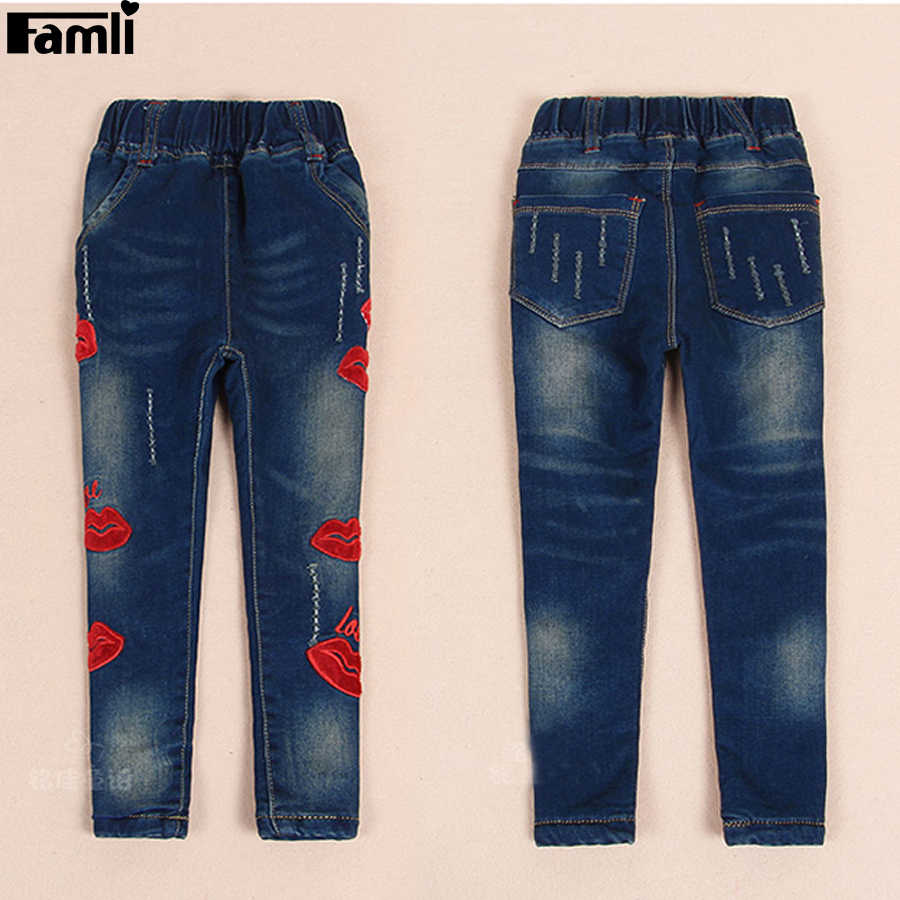 ca2fc1ca19 ... 3Y-14Y Teenager Girls Jeans Pant 2019 Children Spring Autumn Casual  Light Denim Skinny Patchwork