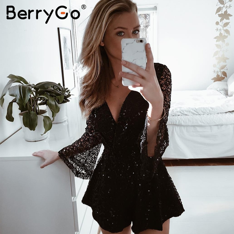 BerryGo Sexy lace gold sequin jumpsuit romper Women hollow out long flare sleeve overalls Summer 2018 deep v neck black playsuit