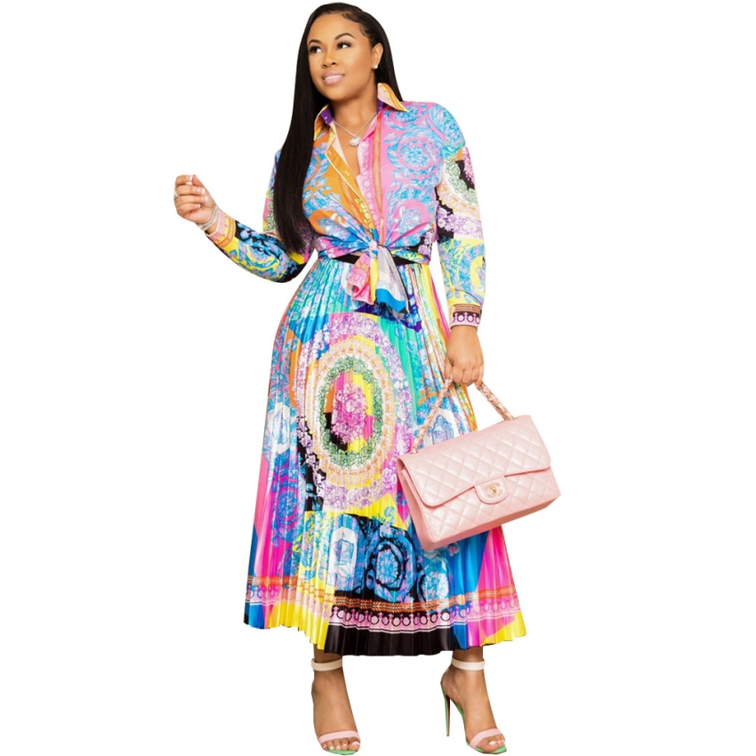 Two Piece Sets Women Long Sleeve Shirt And Long Skirts Suits Flower Print Tops Vintage Skirt Sets For Elegant Women's Sets 2 Pcs