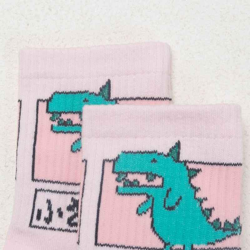 女性ガールズヒップホップ長綿靴下おかしい漫画恐竜日本文字