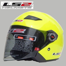 Free shipping genuine LS2 OF569 motorcycle helmet half helmet male and female models GRP / Fluorescent yellow
