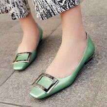 Women's High Quality Slip-on Ballet Flats Square Toe Buckle Desoration Female OL Style Ballerinas Designer Female Footwear Shoes