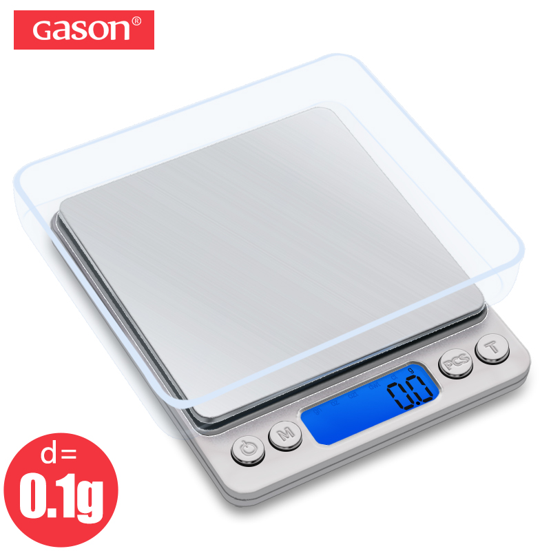 GASON Z1s Kitchen scale Mini Pocket Portable Stainless Steel Precision Jewelry Electronic Balance Weight Gold Grams (3000gx0.1g)