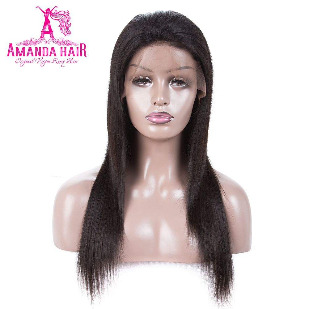 Amanda Straight Brazilian Hair Lace Front Wigs Natural Color 100% Human  Remy Hair Wigs for Women Pre Plucked Hairline 8-26 Inch a2c1947f16