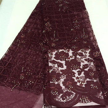 2018 African Tulle Lace Fabrics With Stones Embroidery Net Lace African French Lace High Quality With Beads Wedding GL86-2