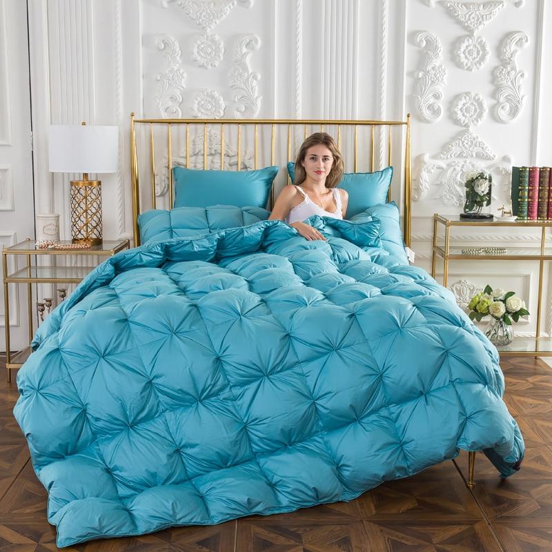 Solide couleur épaisse Couette Hiver Duvet d'oie Couette 100% Coton Jette Couverture reine Double king Size