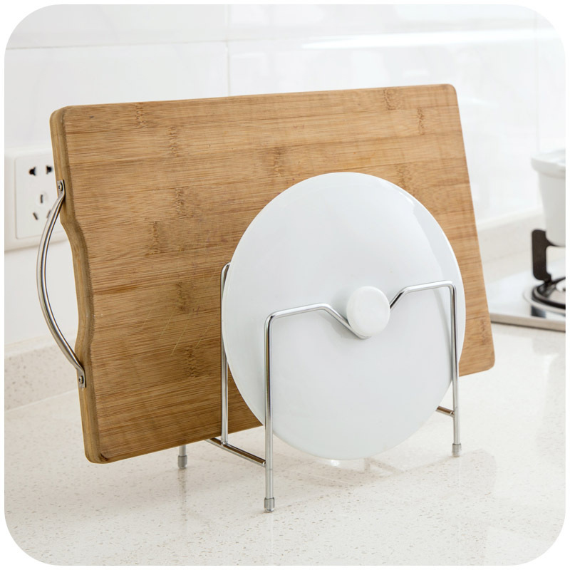 1pc Double Layer Stainless Steel Pot Lid Shelf Pan Cutting Board Dish Holder Kitchen Organizer 16*11.8*18.8cm