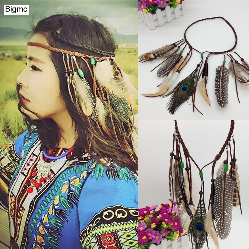 New Women Wooden beads Headband Peacock Feather Bohemian Indian Printing Bride Hair Band Hair Accessories Hair Jewelry A5016