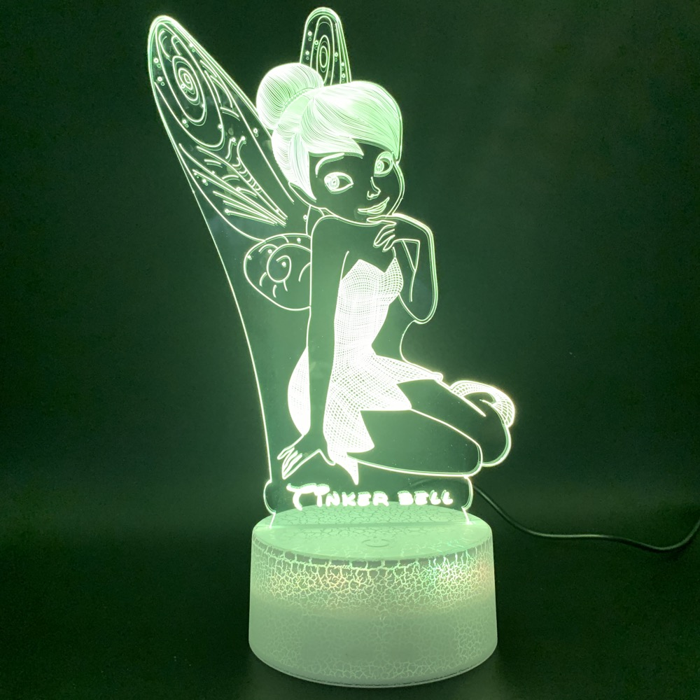 Novelty Lights Princess Tinker Bell Figure Home Decor Bright Base Color Changing Gift For Baby 3d Led Night Light Lamp Miss Bell