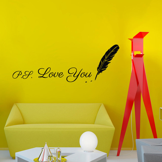 Writing ps love you feather wall sticker design vinyl removable creative home decor living room wall