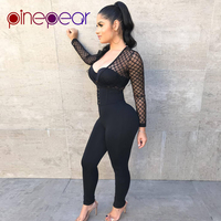 PinePear Sexy Mesh Jumpsuit Women 2019 NEW Winter Long Sleeve Transparent Lace Up Bandage Bodycon Romper Clubwear Drop Shipping
