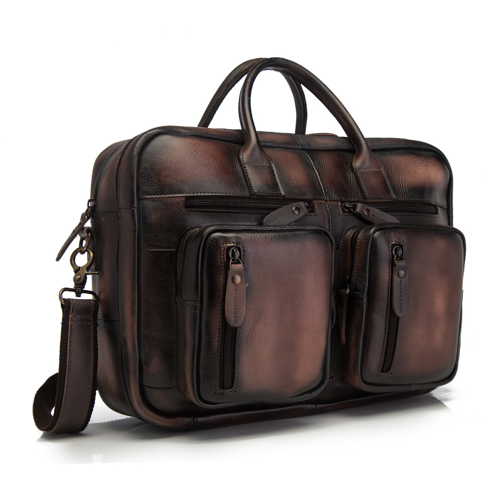 Original Leather Man Bag Design Multifunction Purpose Large Capacity Commercial Briefcase 15