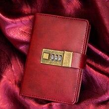 Lock Diary a7 Notebook Vintage Leather Book Planner Sketchbook Mini Pocket Agenda Organizer Filofax Personal Travelers