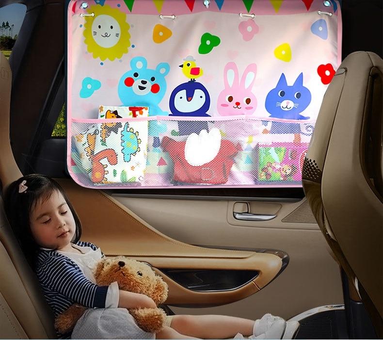 cartoon curtains for cars Cover Sun Blocking Auto car Curtain Side Tensile Sunshade Curtains Children top 70*50cm