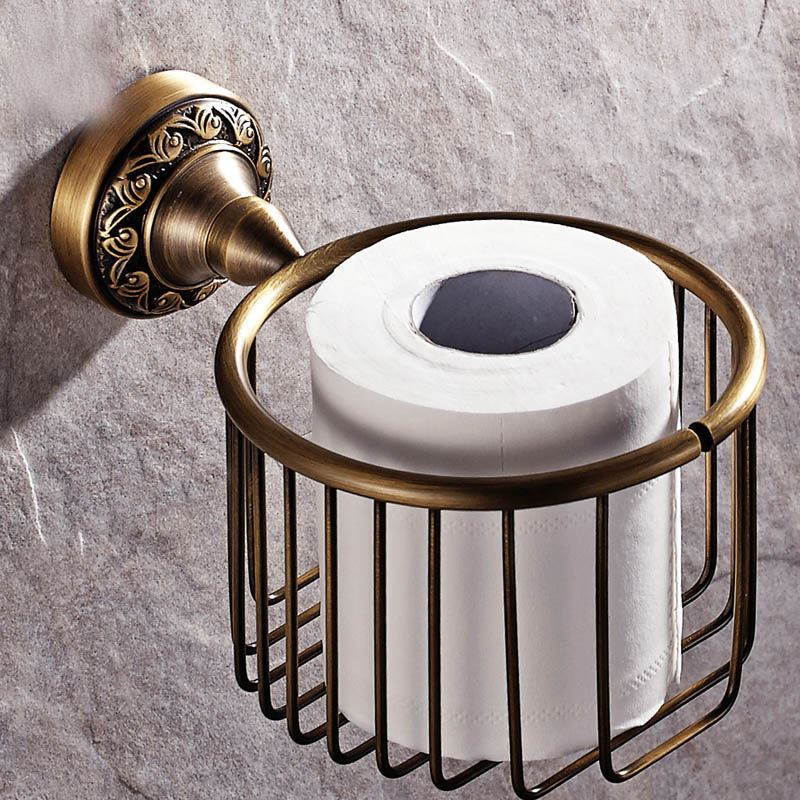 ITAS3310 Hand drawing antique copper towel basket Restroom European round roll toilet paper holder tissue sanitary home brass black of toilet paper all copper toilet tissue box antique toilet paper basket american top hand cartons