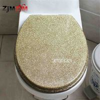 New High grade Beautiful Twinkling Golden Resin Toilet Seat Cover Slow Down Stainless Steel Hinge U/V/O Universal Toilet Cover