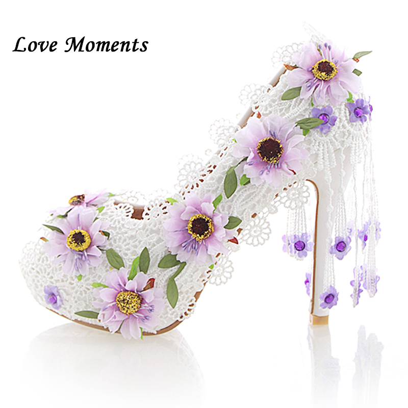 Love Moments white lace flower wedding shoes  high-heeled crystal lace shoes female 12cm Peep toe Ladies party shoes womanLove Moments white lace flower wedding shoes  high-heeled crystal lace shoes female 12cm Peep toe Ladies party shoes woman