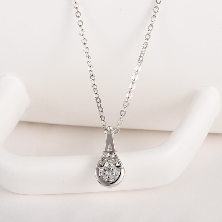 Silver Plated Long Chain Necklace With Zircon Decoration Wholesale Summer  Dress Jewelry For Girl Romantic Gift-in Jewelry Sets from Jewelry    Accessories on ... 1a72351836e