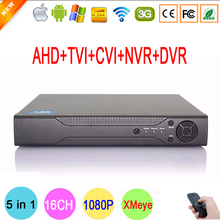 Hi3521A Sensor 16CH 1080P/960P/720P/960H 5 in 1 Coaxial TVI CVI NVR AHD DVR Surveillance Video Recorder Free Shipping To Russia