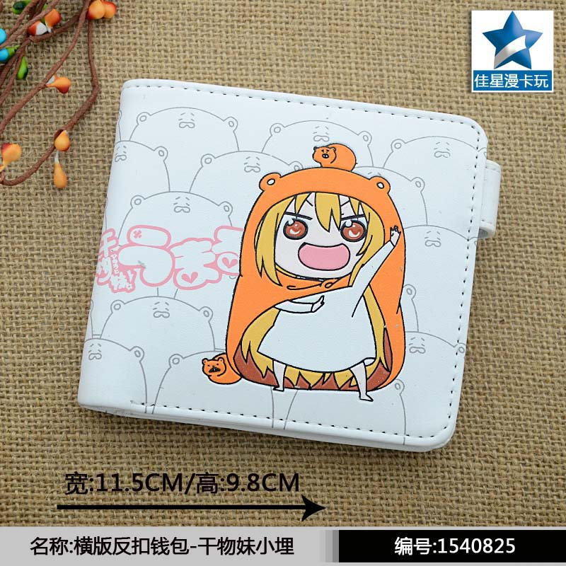 White Anime Himouto! Umaru-chan Doma Umaru PU Horizontal Wallet/Short Purse With Button japan anime himouto umaru chan wallet doma umaru cosplay coin card women men bifold purse