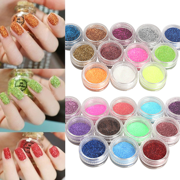 Nail Art Glitter Powder Dust For UV GEL Acrylic Powder Decoration ...