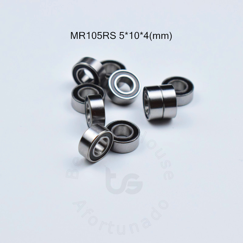 MR105RS 5*10*4(mm) 10pieces Free Shipping Bearing 10pcs Rubber Sealed Miniature Mini Bearing MR MR105RS Chrome Steel Bearing