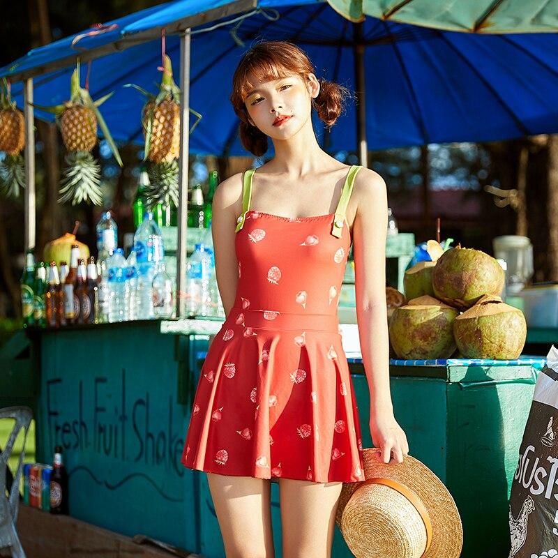 Nouveau fraise Fruit imprimer une pièce maillot de bain 2019 Sexy indépendant jupe maillots de bain vacances plage femmes maillots de bain